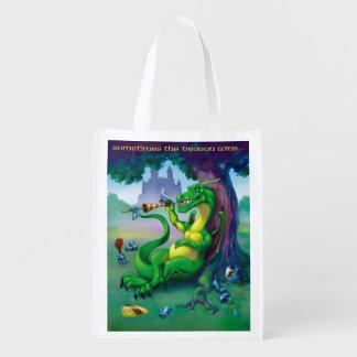 Sometimes the Dragon wins - Green Reusable Grocery Bag