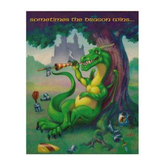 Sometimes the Dragon wins - Green Wood Print