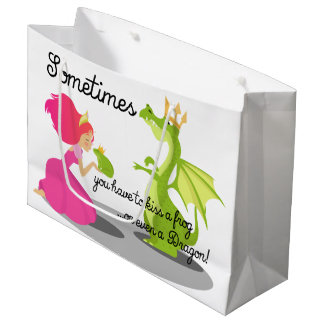 Sometimes You Need To Kiss a Frog or Dragon Large Gift Bag