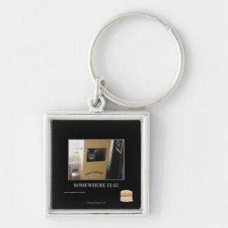 Somewhere Else Silver-Colored Square Key Ring