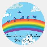 Somewhere over the rainbow round sticker
