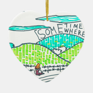 Somewhere / Sometime Ceramic Heart Decoration