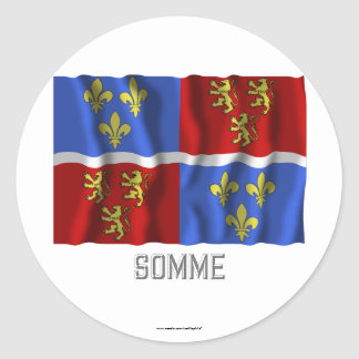 Somme waving flag with name classic round sticker