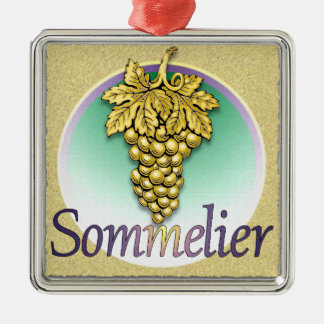 Sommelier Symbol Silver-Colored Square Decoration