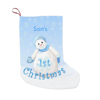 Son 1st Christmas Snowman Small Christmas Stocking