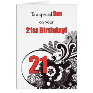 Son, 21st Birthday Religious Swirls Greeting Card