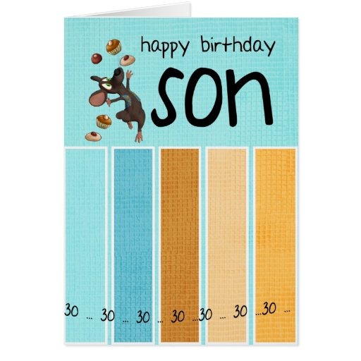 Th Birthday Cards For My Son ~ Son th birthday card with cake and mouse zazzle