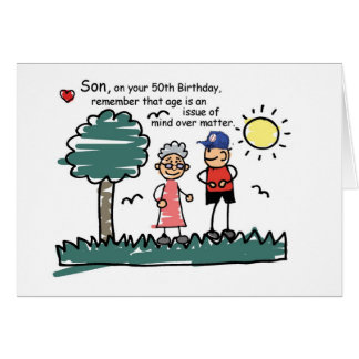 Son 50th Birthday Humorous Stick Figures Card
