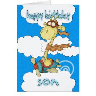 Son Aeroplane / Airplane Giraffe Birthday Card