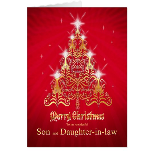 Son and daughter-in-Law, Christmas tree card