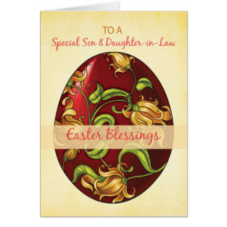 Son and Daughter-in-Law, Easter Blessings, Egg Greeting Card