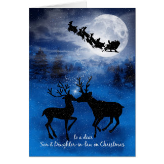 Son and Daughter in Law Kissing Reindeer Christmas Card