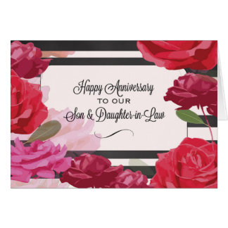 3rd Wedding Anniversary Gift Ideas For Son And Daughter In Law : Son and Daughter-in-Law Wedding Anniversary Roses Greeting Card