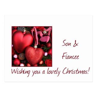 son and fiancee Merry Christmas card Postcard