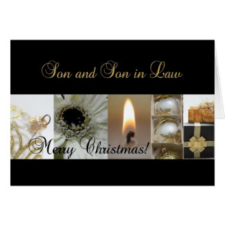 Son and Son in Law Christmas black & White & Gold Greeting Card