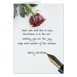 Son and son in law christmas letter on snow rose greeting card