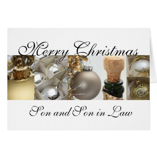 Son and Son in Law merry christmas gold on white c Card