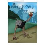 Son Birthday Card - Cartoon Ostrich - Digital Pain