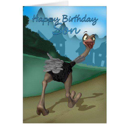 Son Birthday Card - Cartoon Ostrich - Digital