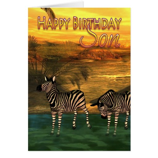 Son Birthday Card Zebras In Water
