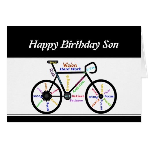 Son Birthday Motivational Bike Bicycle Cycling Cards