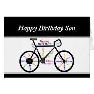 Son Birthday Motivational Bike Bicycle Cycling Greeting Card