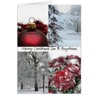 Son & Boyfriend Christmas Red Winter collage Greeting Card