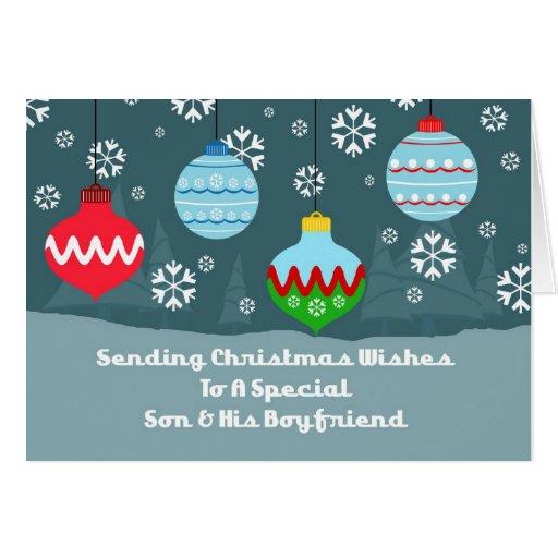 Son & Boyfriend Vintage Ornaments Christmas Card
