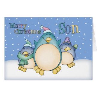 Son Christmas Card With Penguins