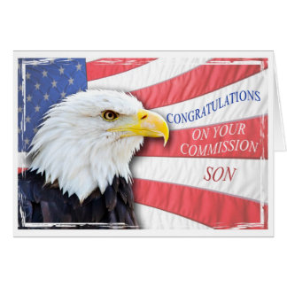 Son,commissioning with a bald eagle card