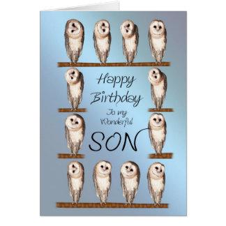 Son, Curious owls birthday card. Card