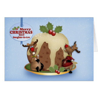 Son & Daughter-in-Law Christmas Pudding & Reindeer Greeting Card