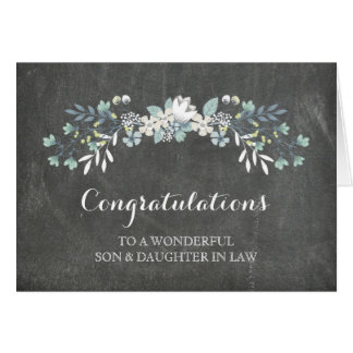Son & Daughter In Law Congratulations Chalkboard Greeting Card