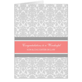 Son & Daughter In Law Wedding Congratulations Gray Greeting Cards