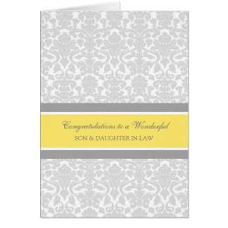 Son & Daughter In Law Wedding Congratulations Gray Greeting Card
