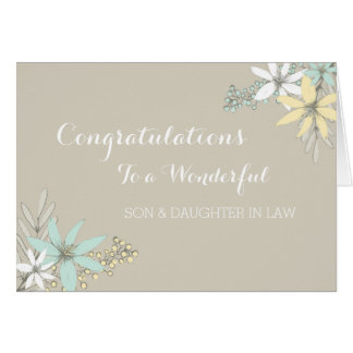 Son & Daughter In Law Wedding Congratulations Grey Greeting Card