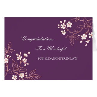 Son & Daughter In Law Wedding Congratulations Plum Greeting Card