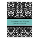 Son & Daughter In Law Wedding Congratulations Teal Greeting Card