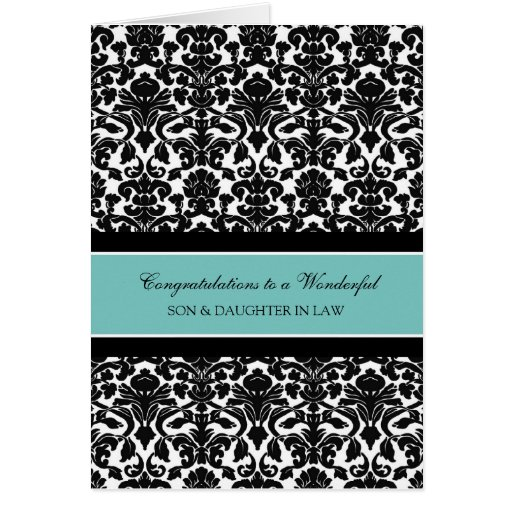 Son & Daughter In Law Wedding Congratulations Teal Greeting Cards