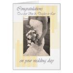 Son & Daughter in Law Wedding day cream congratula Cards