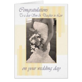 Son & Daughter in Law Wedding day cream congratula Greeting Card