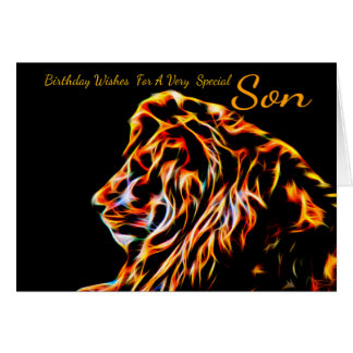 Son Fractal Birthday Lion, Neon Line Art Fractal Card