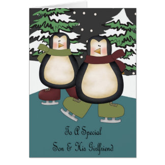 Son & Girlfriend Penguins Christmas Card