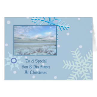 Son & His Fiance Winter Lake Christmas Greeting Card