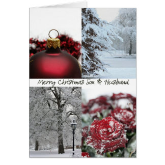 Son & Husband Christmas Red Winter collage Greeting Card