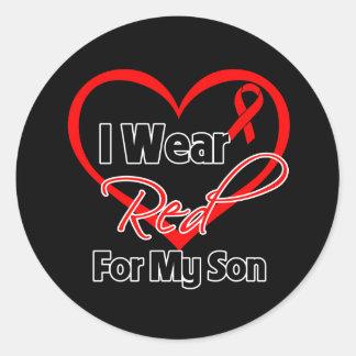 Son - I Wear a Red Heart Ribbon Round Sticker
