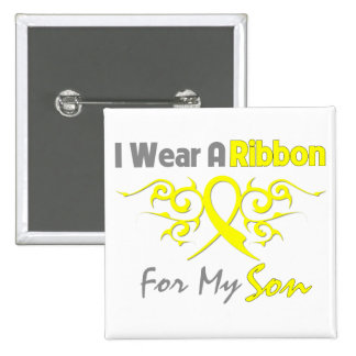 Son - I Wear A Yellow Ribbon Military Support 15 Cm Square Badge