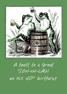Son In Law 40th Birthday Frogs Toasting With Beer Card