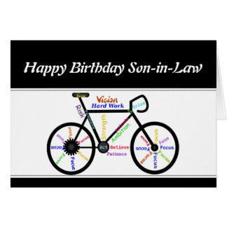Son-in-Law Birthday Motivational Bike Bicycle Card