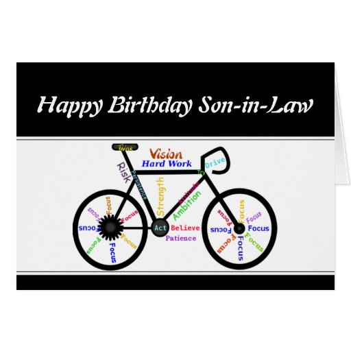 Son-in-Law Birthday Motivational Bike Bicycle Cards